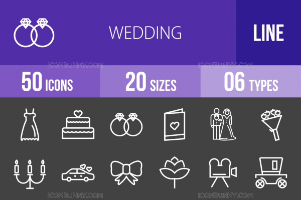 50 Wedding Line Inverted Icons - Overview - IconBunny
