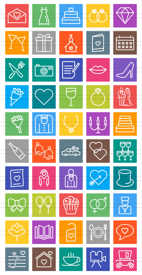 50 Wedding Line Multicolor B/G Icons - Preview - IconBunny