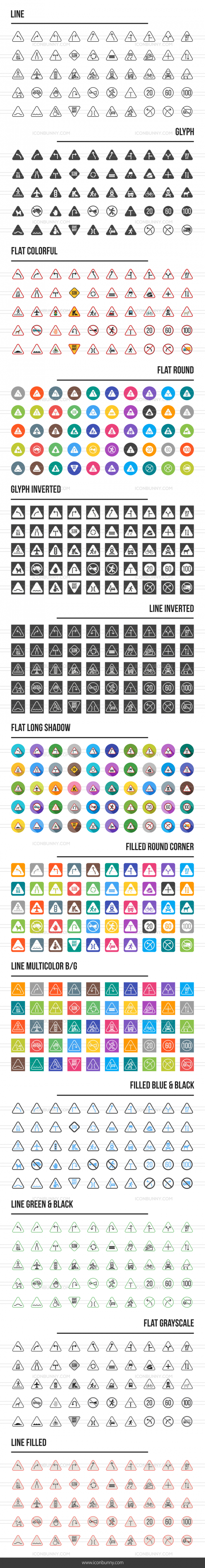 Traffic Signs Icons Bundle - Preview - IconBunny