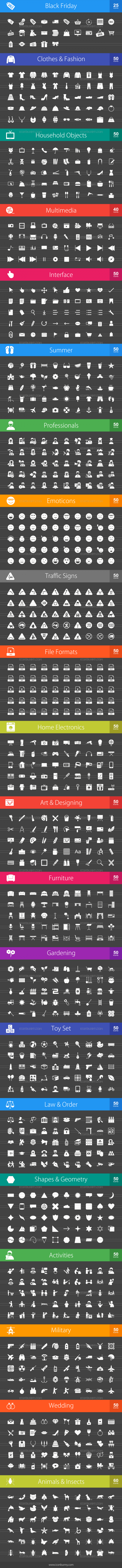 1025 Glyph Inverted Icons Bundle - Preview - IconBunny