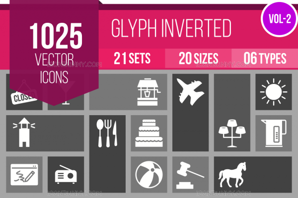 1025 Glyph Inverted Icons Bundle - Overview - IconBunny