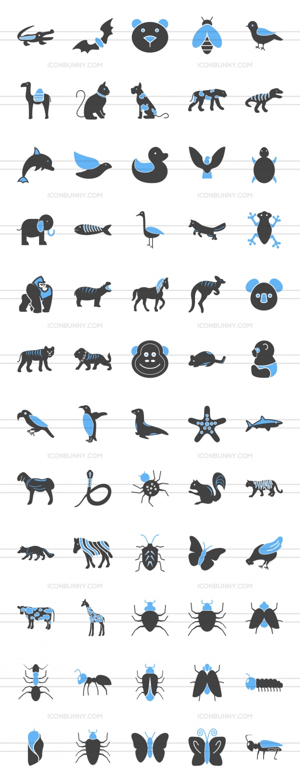 60 Animals & Insects Blue & Black Icons - Preview - IconBunny