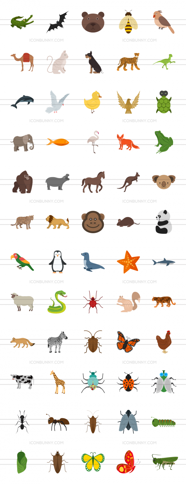 60 Animals & Insects Flat Multicolor Icons - Preview - IconBunny