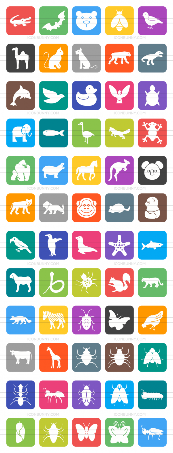 60 Animals & Insects Flat Round Corner Icons - Preview - IconBunny