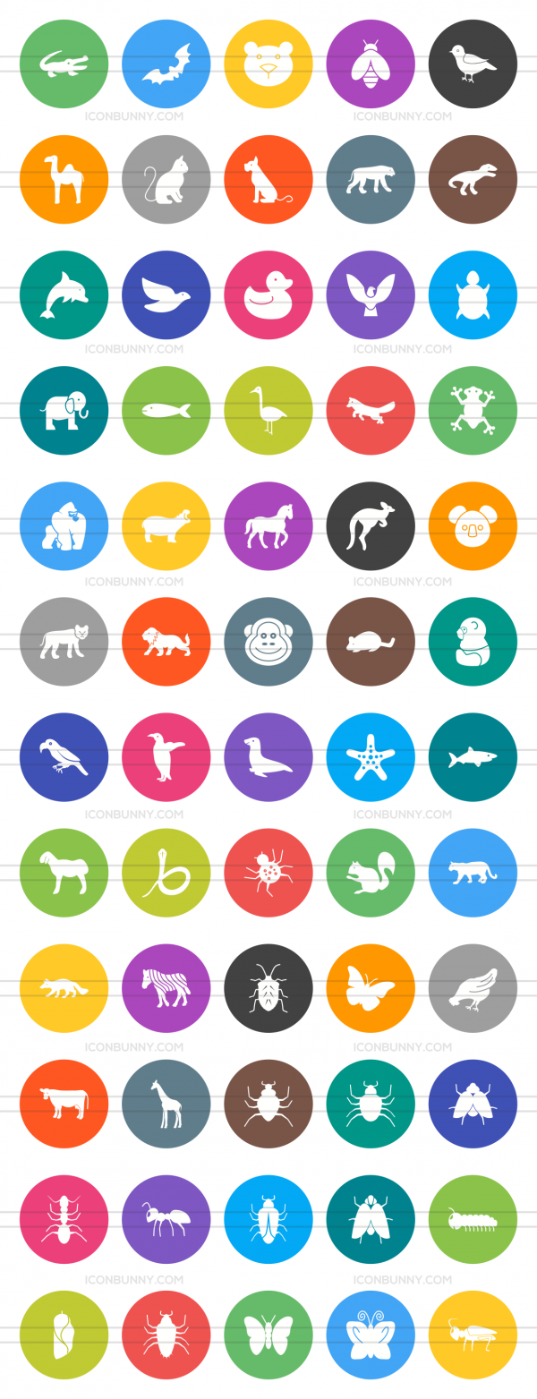 60 Animals & Insects Flat Round Icons - Preview - IconBunny