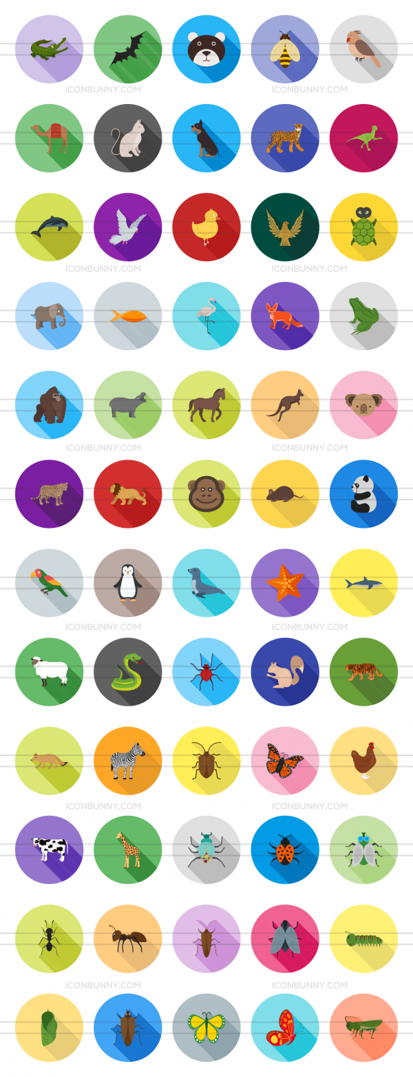 60 Animals & Insects Flat Shadowed Icons - Preview - IconBunny