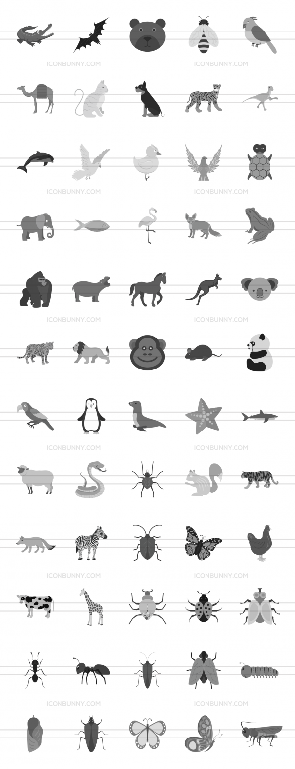 60 Animals & Insects Greyscale Icons - Preview - IconBunny