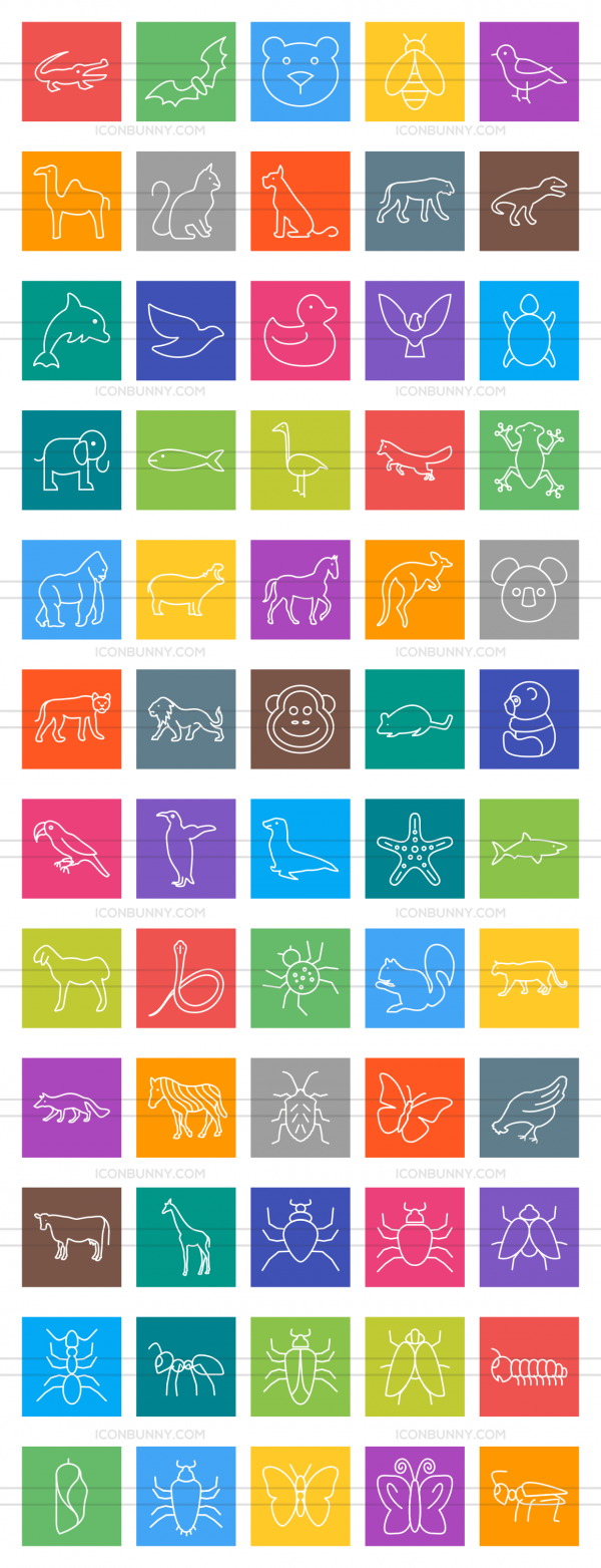 60 Animals & Insects Line Multicolor B/G Icons - Preview - IconBunny