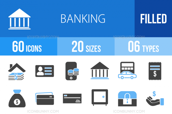 60 Banking Blue & Black Icons - Overview - IconBunny