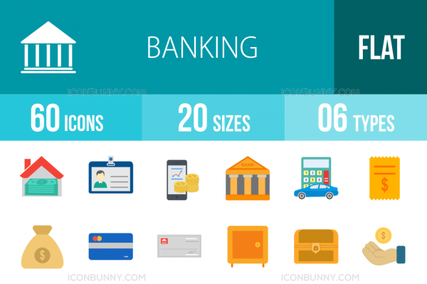 60 Banking Flat Multicolor Icons - Overview - IconBunny