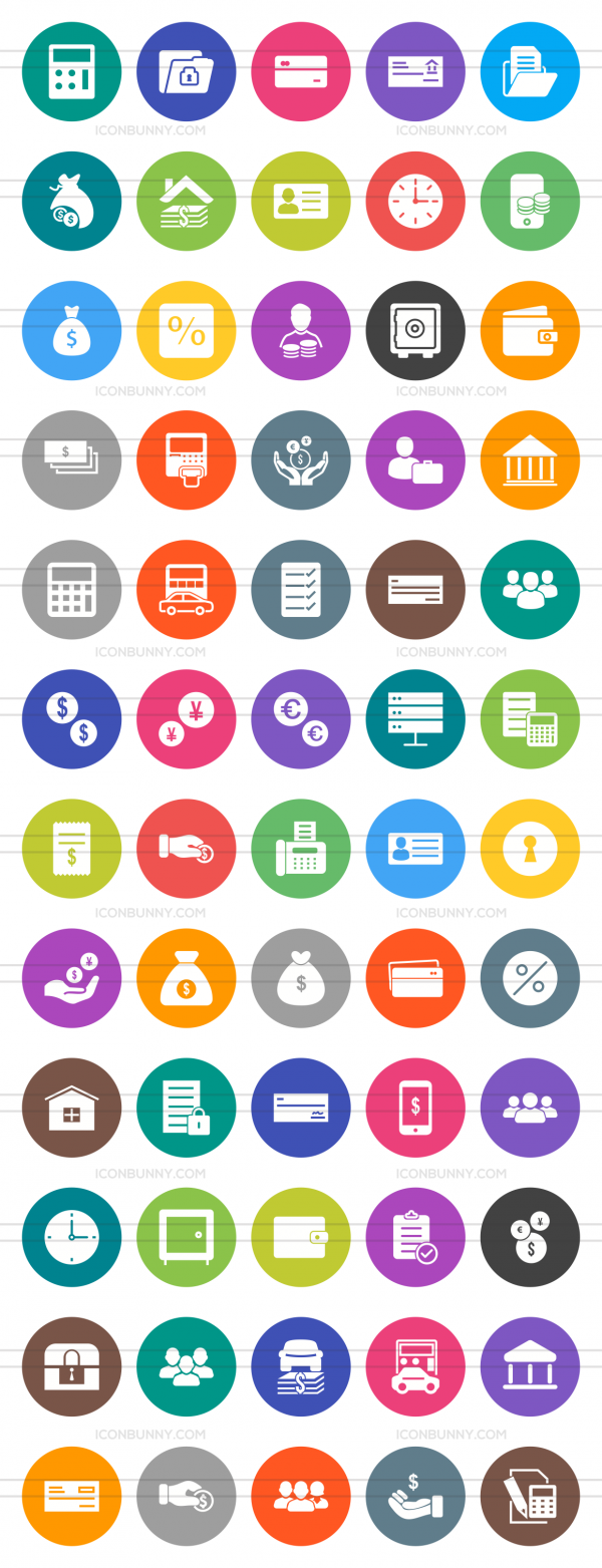 60 Banking Flat Round Icons - Preview - IconBunny