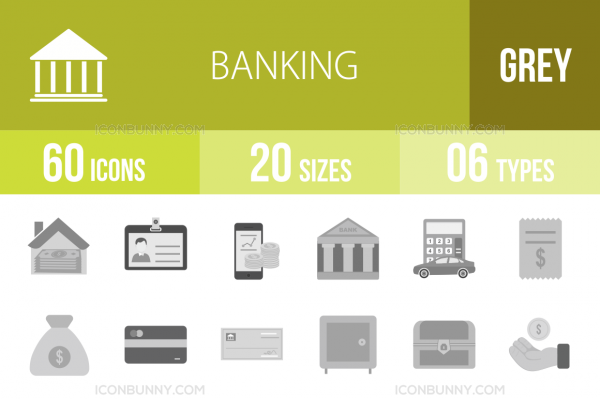 60 Banking Greyscale Icons - Overview - IconBunny