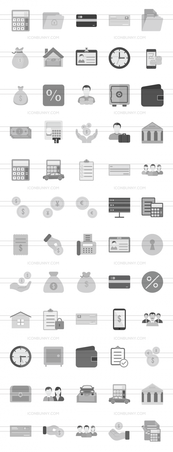 60 Banking Greyscale Icons - Preview - IconBunny