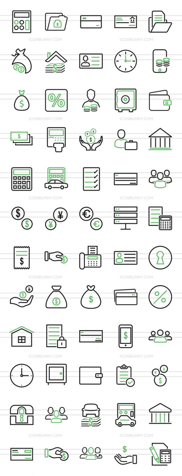 60 Banking Line Green & Black Icons - Preview - IconBunny