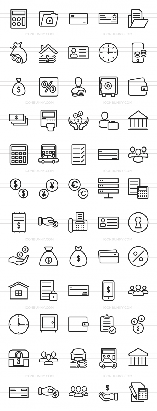 60 Banking Line Icons - Preview - IconBunny