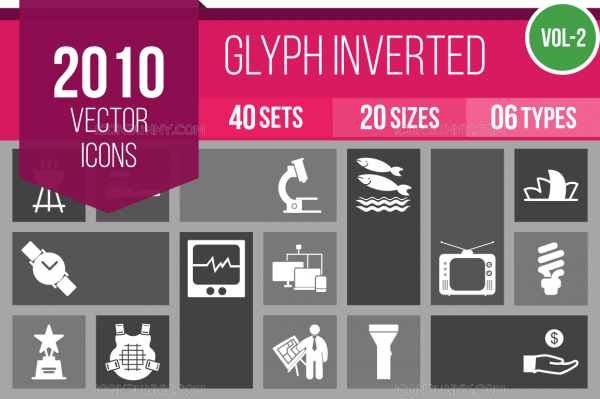 2010 Glyph Inverted Icons Bundle - Overview - IconBunny