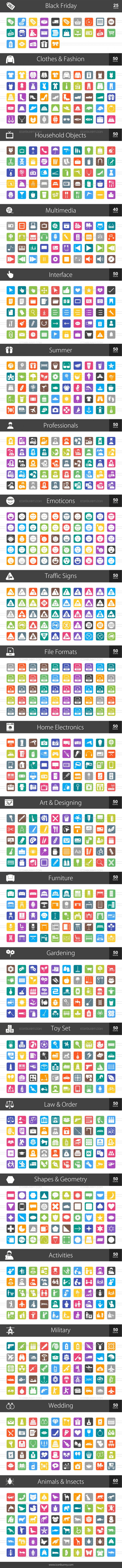 1025 Flat Round Corner Icons Bundle - Preview - IconBunny