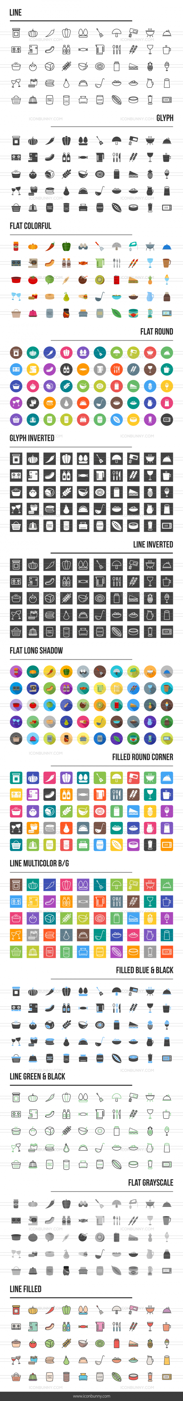 Food Icons Bundle - Preview - IconBunny