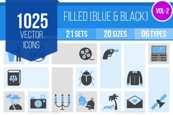1025 Blue & Black Icons Bundle - Overview - IconBunny