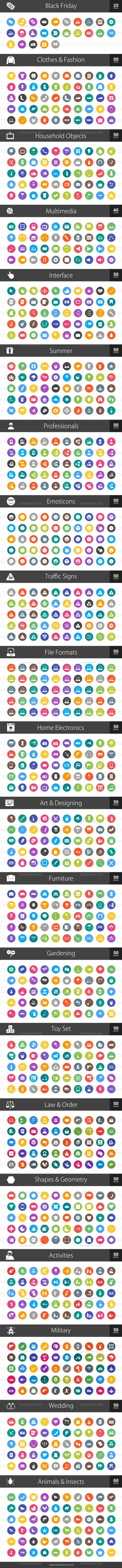 1025 Flat Round Icons Bundle - Preview - IconBunny