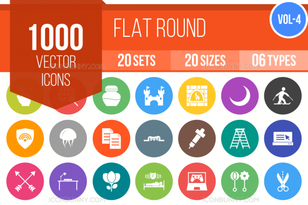 1000 Flat Round Icons Bundle - Overview - IconBunny