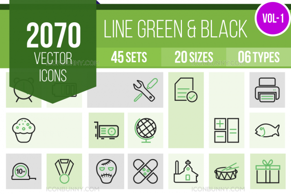 2070 Line Green & Black Icons Bundle - Overview - IconBunny