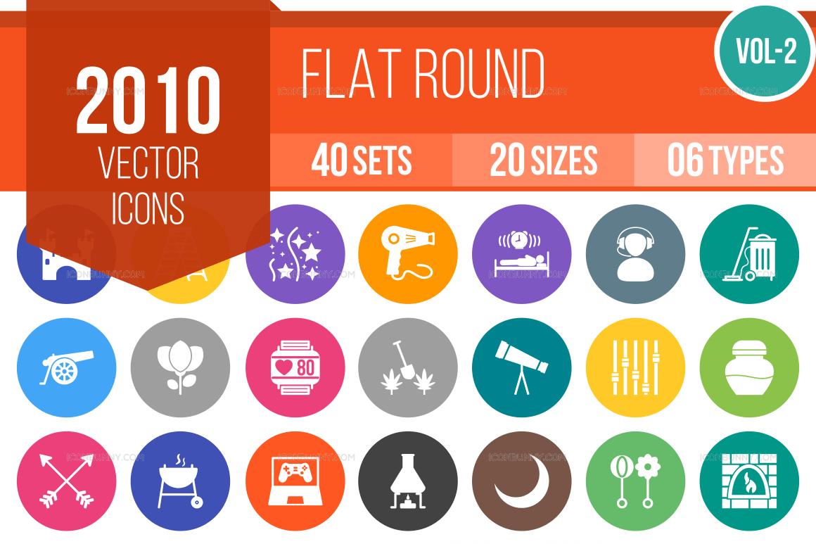 2000+ Flat Round Icons Bundle (V-2)