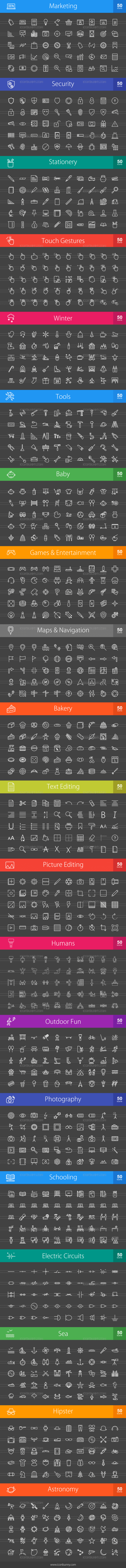 1000 Line Inverted Icons Bundle - Preview - IconBunny