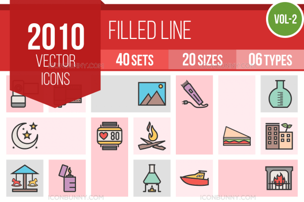 2010 Line Multicolor Filled Icons Bundle - Preview - IconBunny