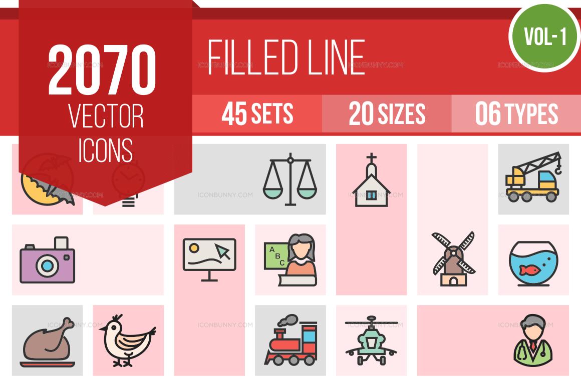 2000+ Line Multicolor Filled Icons Bundle (V-1)