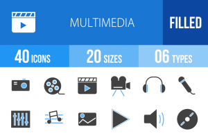 40 Multimedia Blue & Black Icons - Overview - IconBunny