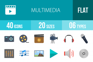 40 Multimedia Flat Multicolor Icons - Overview - IconBunny