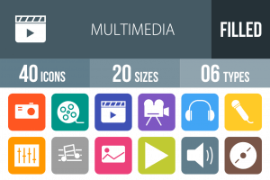 40 Multimedia Flat Round Corner Icons - Overview - IconBunny