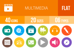 40 Multimedia Flat Round Icons - Overview - IconBunny
