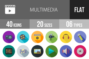 40 Multimedia Flat Shadowed Icons - Overview - IconBunny