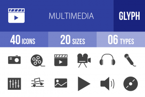 40 Multimedia Glyph Icons - Overview - IconBunny