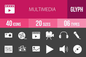 40 Multimedia Glyph Inverted Icons - Overview - IconBunny
