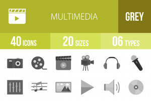 40 Multimedia Greyscale Icons - Overview - IconBunny