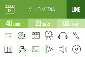 40 Multimedia Line Green & Black Icons - Overview - IconBunny