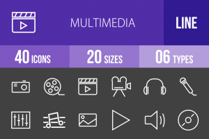 40 Multimedia Line Inverted Icons - Overview - IconBunny