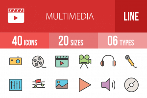 40 Multimedia Line Multicolor Filled Icons - Overview - IconBunny