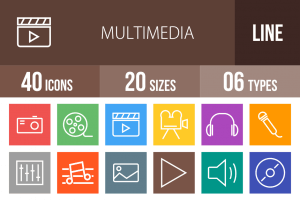 40 Multimedia Line Multicolor B/G Icons - Overview - IconBunny