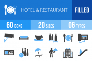 60 Hotel & Restaurant Blue Black Icons - Overview - IconBunny