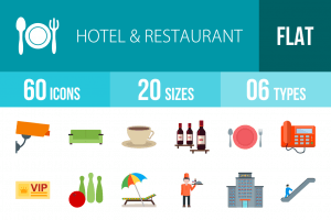 60 Hotel & Restaurant Flat Multicolor Icons - Overview - IconBunny