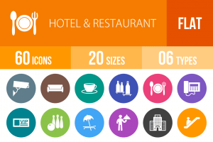 60 Hotel & Restaurant Flat Round Icons - Overview - IconBunny