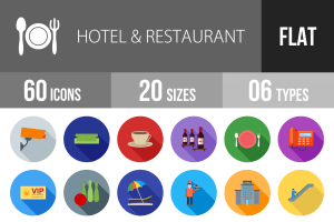 60 Hotel & Restaurant Flat Shadowed Icons - Overview - IconBunny