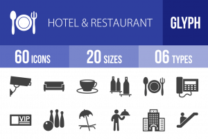 60 Hotel & Restaurant Glyph Icons - Overview - IconBunny