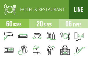 60 Hotel & Restaurant Line Green Black Icons - Overview - IconBunny
