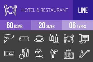 60 Hotel & Restaurant Line Inverted Icons - Overview - IconBunny