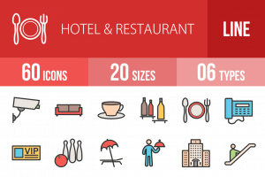 60 Hotel & Restaurant Line Multicolor Filled Icons - Overview - IconBunny